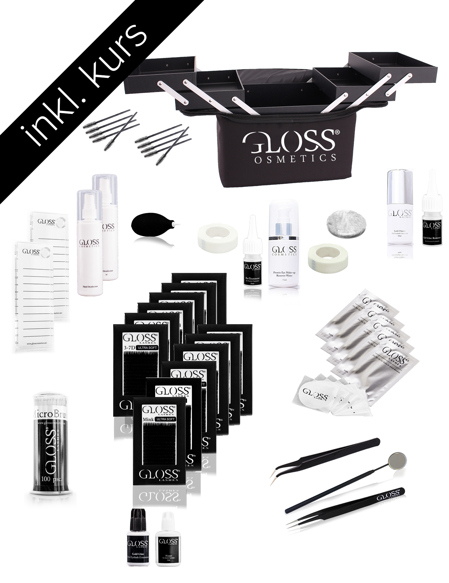 Kurs KOMBO Pakke Gloss Lashes 1:1 Klassisk & 3-7D Volume teknikk set BASIC