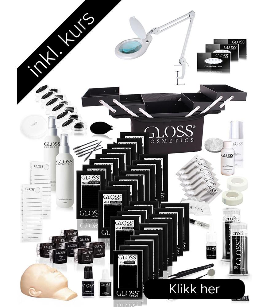 Kurs KOMBO Pakke Gloss Lashes 1:1 Klassisk & 3-7D Volume teknikk set BASIC