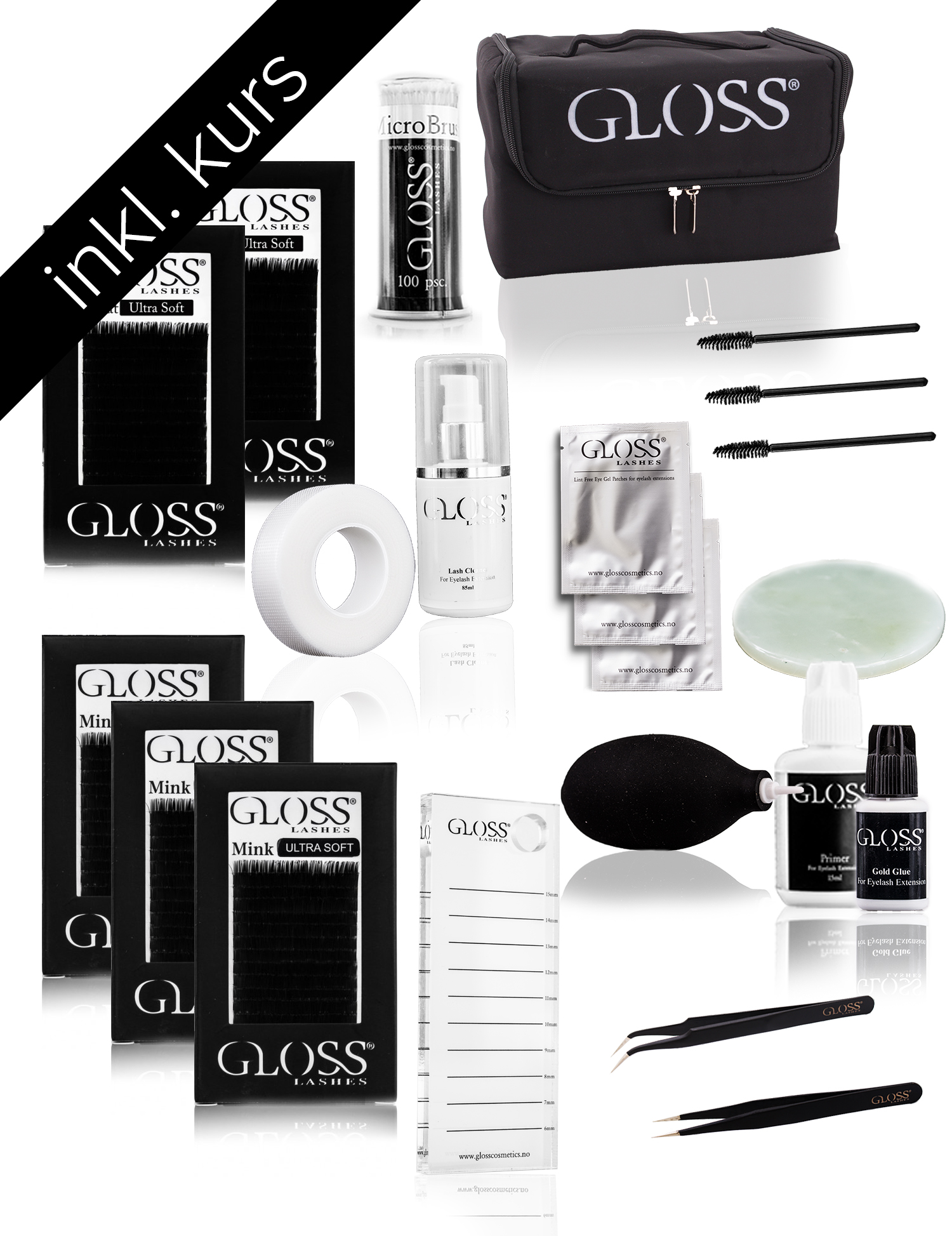 Kurs Pakke Gloss Lashes 1:1 Klassisk teknikk set BASIC PLUS